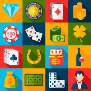 färgrikt kollage med 16 casinorelaterade bilder